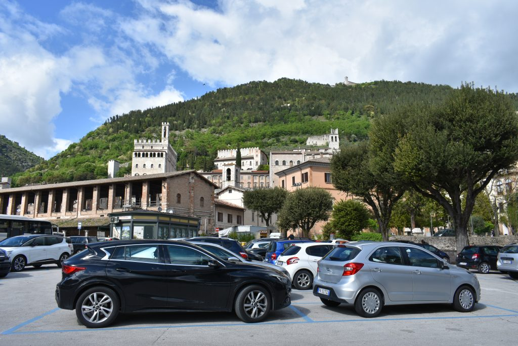 A car park, or parking lot, in Italy for post on driving tips in Italy