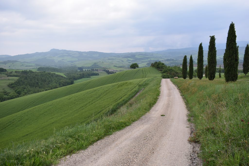 A dirt road in Tuscany for post on driving in Italy tips