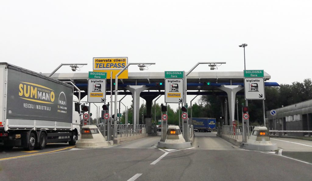 Toll booth on a highway in Italy - an image for story on tips for driving in Italy