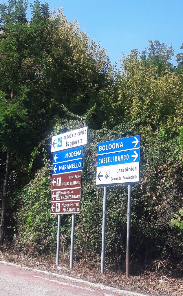 Signs on an Italian road